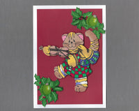 Handmade Fabric Fat Cat Playing the Fiddle Blank Christmas Greeting Card