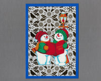 Handmade Fabric Pudgy Snowmen Carols Blank Christmas Greeting Card