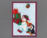 Handmade Fabric Pudgy Snowmen Present Stack Blank Christmas Greeting Card