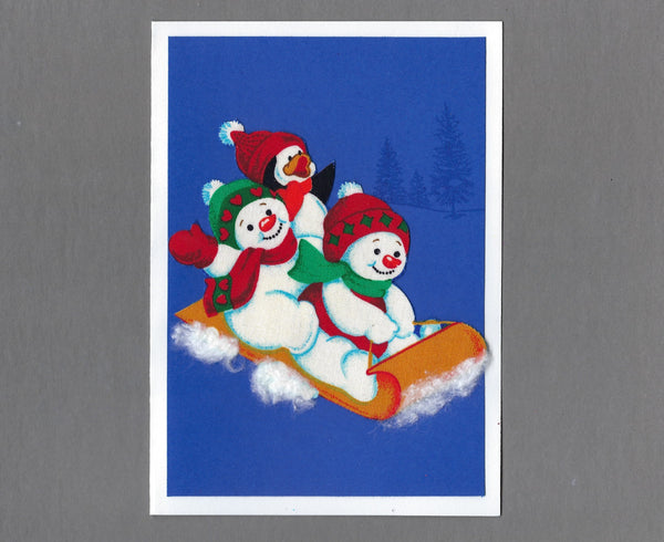 Handmade Fabric Pudgy Snowmen Sledding Blank Christmas Greeting Card