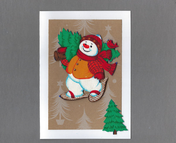 Handmade Fabric Pudgy Snowmen Show Shoes Blank Christmas Greeting Card