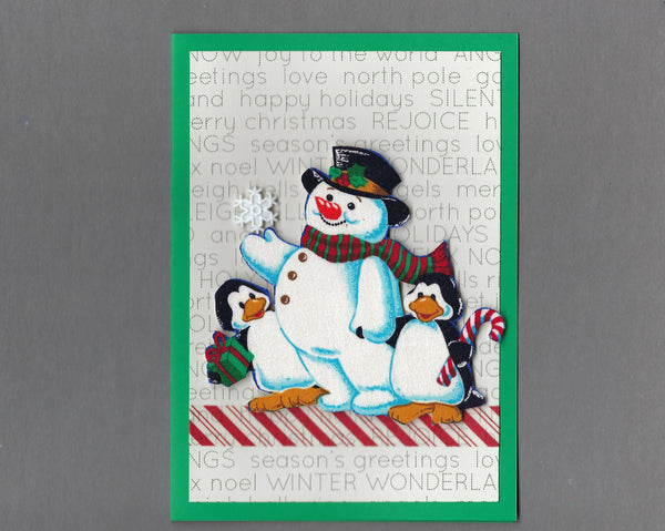 Handmade Fabric Pudgy Snowmen Snowball Fight Blank Christmas Greeting Card