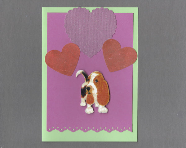 Handmade Fabric Puppy Love Basset Hound Dog Blank Greeting Card