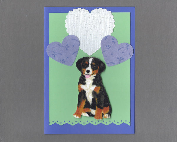 Handmade Fabric Puppy Love Bernese Mountain Dog Blank Greeting Card