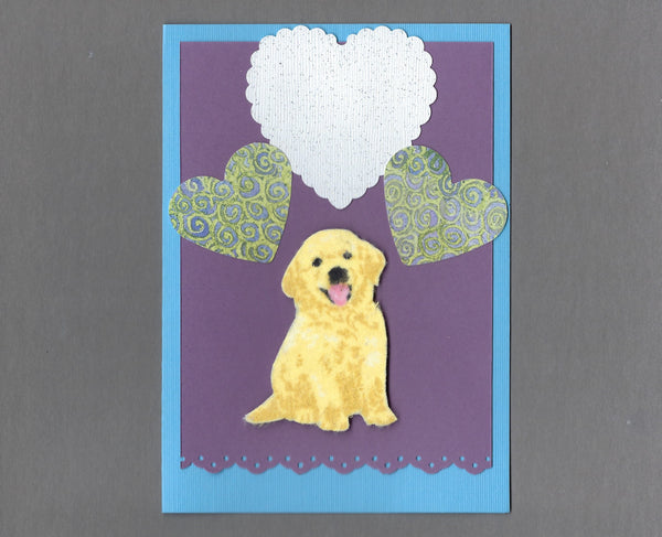 Handmade Fabric Puppy Love Golden Retriever Dog Blank Greeting Card