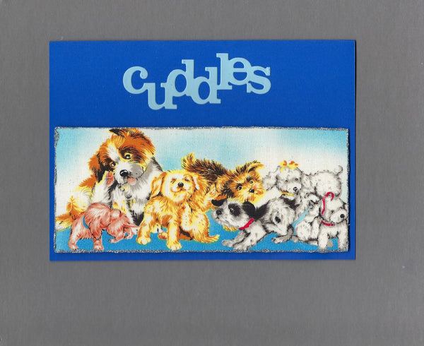 Handmade Fabric Puppy Playtime Cuddles Blank Greeting Card