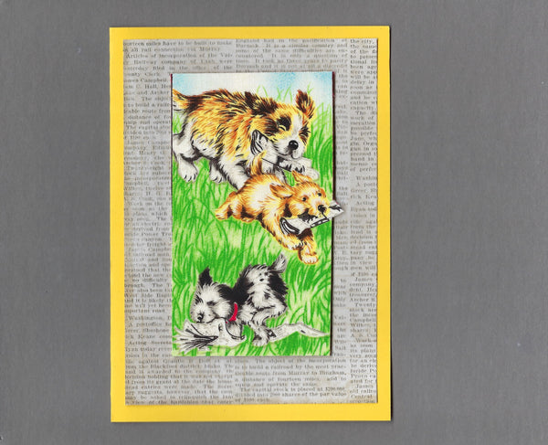 Handmade Fabric Puppy Playtime Newspaper Fun Blank Greeting Card