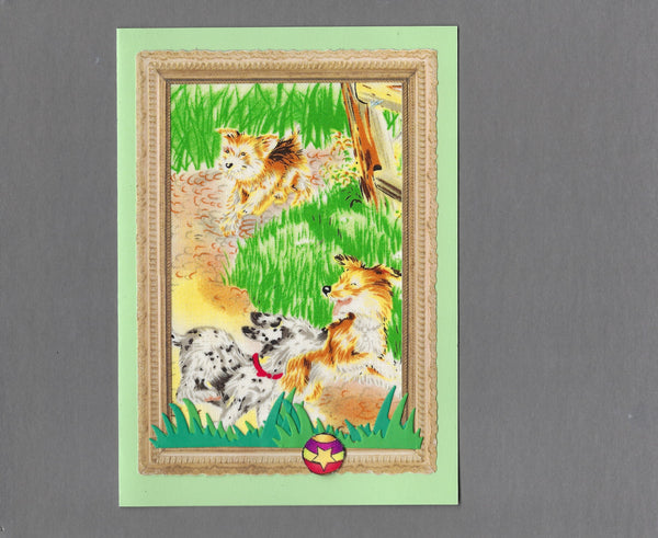 Handmade Fabric Puppy Playtime Playing on the Path Blank Greeting Card