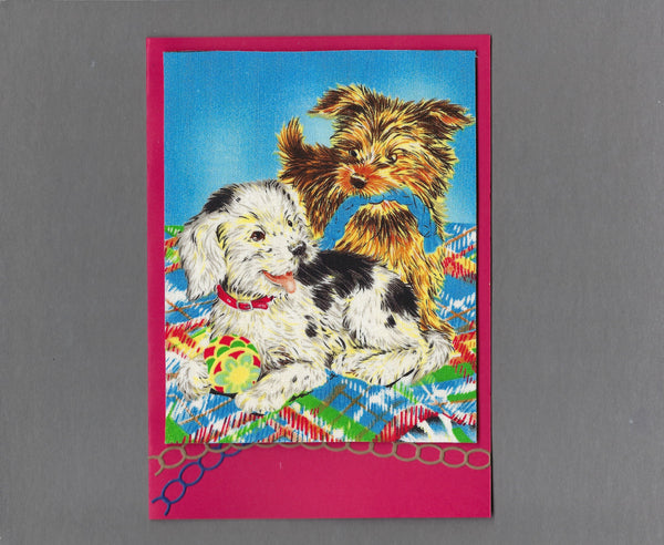 Handmade Fabric Puppy Playtime Rope Toy Fun Blank Greeting Card