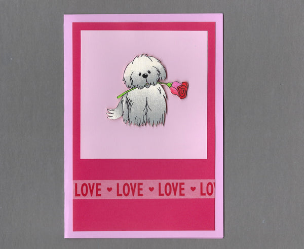 Handmade Fabric Puppy with Rose Love Valentine's Day Blank Greeting Card
