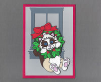Handmade Fabric Ragdoll Swinger Cat Blank Christmas Greeting Card