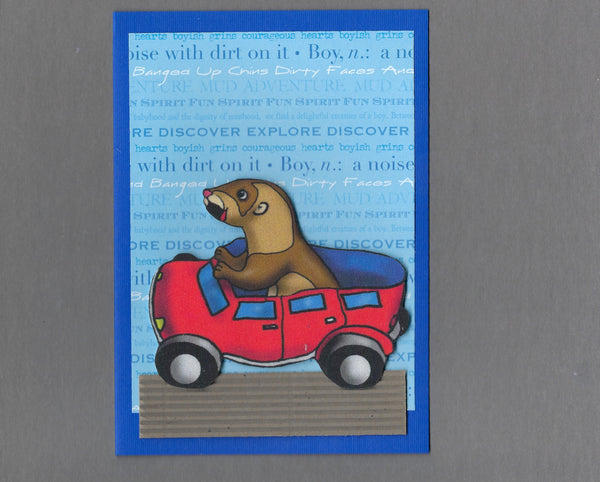 Handmade Fabric Red Pants Car Ferret Blank Greeting Card