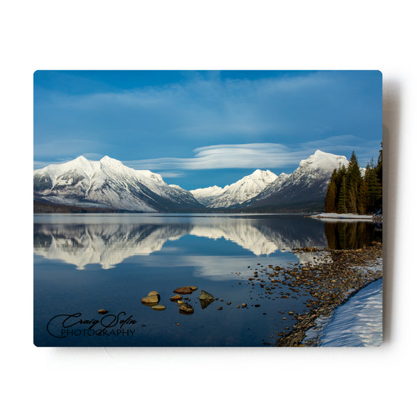 Quiet Reflections On Lake McDonald In Glacier National Park 8 X 10 Metal Print