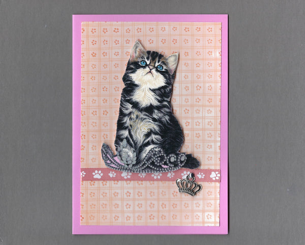 Handmade Fabric Royal Cats Black & White Longhaired Girl Cat Blank Greeting Card