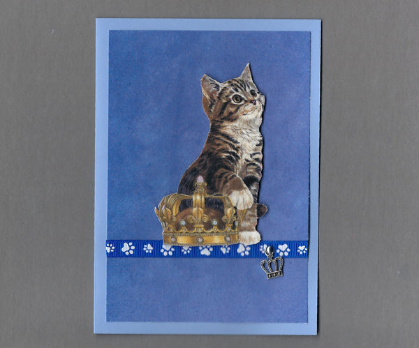 Handmade Fabric Royal Cats Brown Tabby Boy Cat Blank Greeting Card