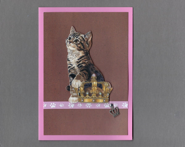 Handmade Fabric Royal Cats Brown Tabby Girl Cat Blank Greeting Card