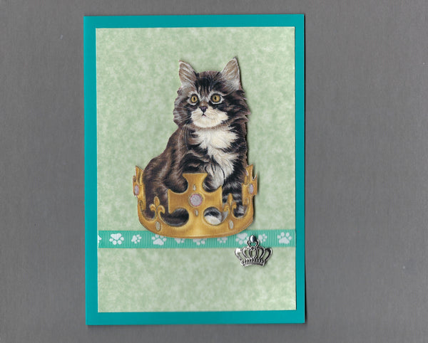 Handmade Fabric Royal Cats Maine Coon Boy Cat Blank Greeting Card