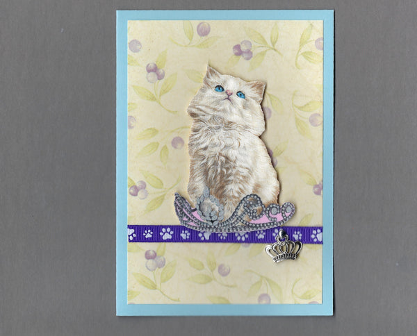 Handmade Fabric Royal Cats Persian Boy Cat Blank Greeting Card
