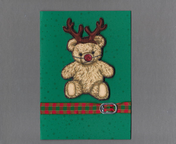 Handmade Fabric Reindeer Bear Christmas Blank Greeting Card