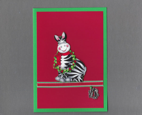 Handmade Fabric Zebra with Wreath Christmas Blank Greeting Card