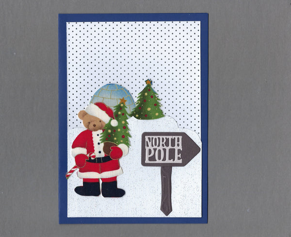 Handmade Fabric Santa Bear and Igloo Christmas Blank Greeting Card