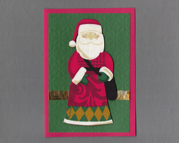 Handmade Fabric Santa with Bag of Toys Blank Christmas Greeting Card