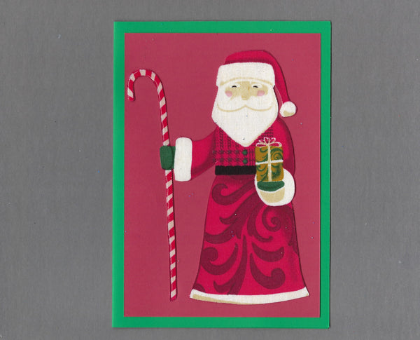 Handmade Fabric Santa with Candy Cane Staff Blank Christmas Greeting Card