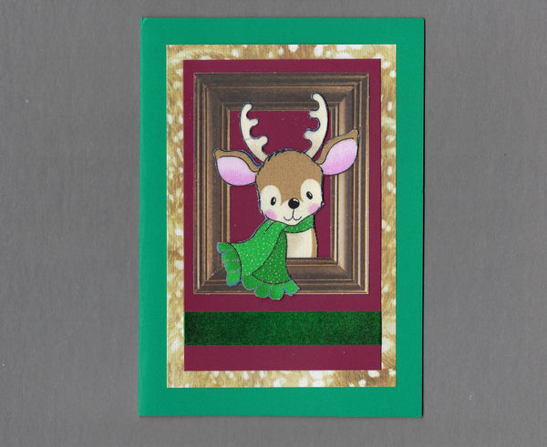 Handmade Fabric Cute Scarf Wearing Deer Christmas Holiday Blank Greeting Card