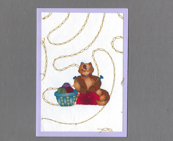 Handmade Fabric Sew Fun Knitting Cat Blank Greeting Card