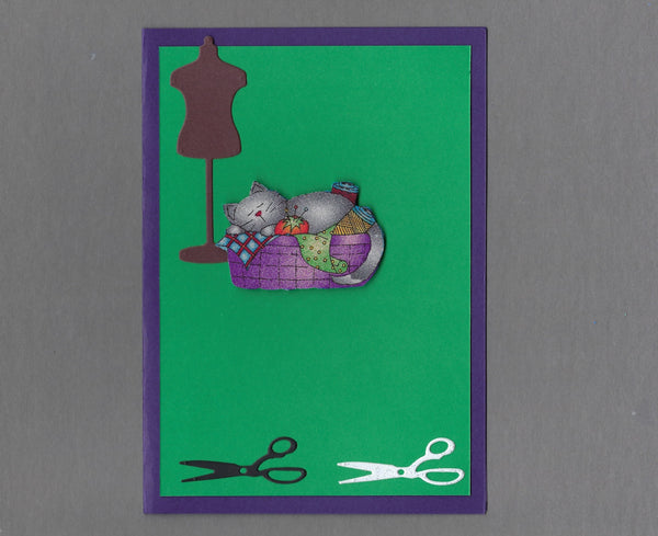 Handmade Fabric Sew Fun Project Napper Cat Blank Greeting Card