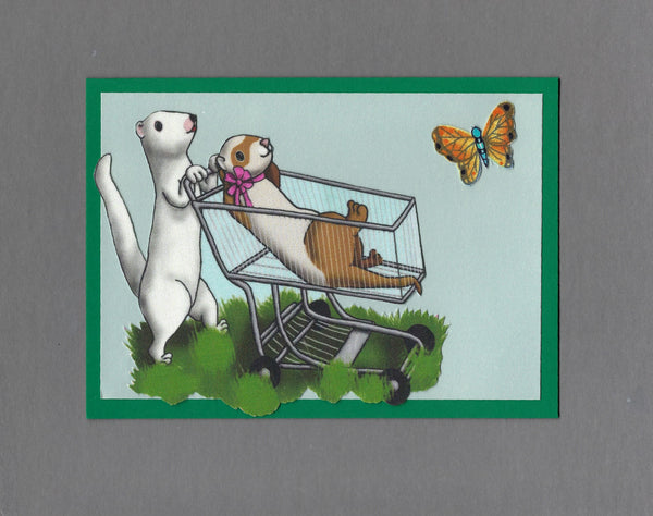 Handmade Fabric Shopping Cart Fun Ferret Blank Greeting Card