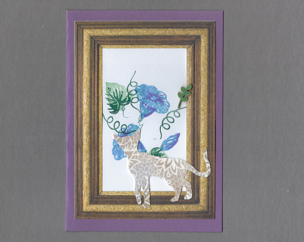 Handmade Custom Fabric Simba the Siamese Cat Blank Greeting Card