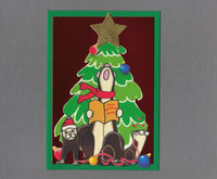 Handmade Fabric Singing Ferret Under Gold Star Tree Christmas Blank Greeting Card
