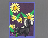 Handmade Fabric Skunk in a Field of Flowers Blank Greeting Card
