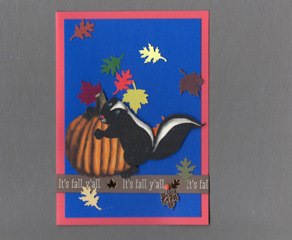 Handmade Fabric Skunk Happy Fall Blank Greeting Card