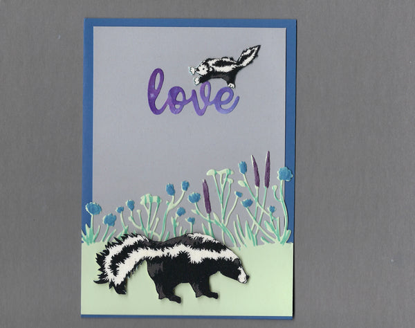 Handmade Fabric Skunk Mom and Baby Love Blank Greeting Card