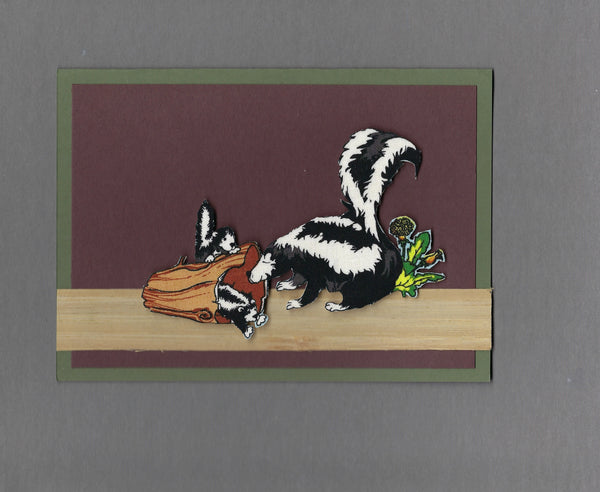 Handmade Fabric Skunk Family Playing in a Log Blank Greeting Card