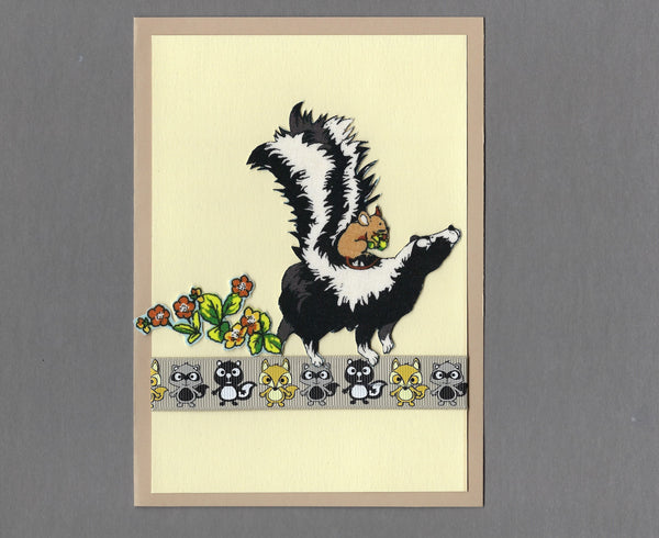 Handmade Fabric Mouse Riding a Skunk Blank Greeting Card