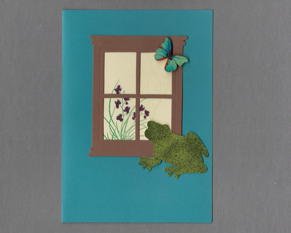 Handmade Custom Small Animal Archie the Frog or Toad Blank Greeting Card