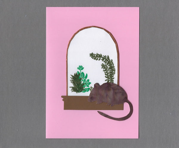 Handmade Custom Small Animal Nibble the Mouse Blank Greeting Card