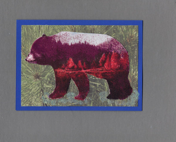 Handmade Flannel Fabric Superimposed Snow Bear Christmas Holiday Blank Greeting Card