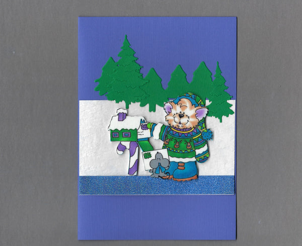 Handmade Fabric Cute Snow Cat Mailing Letter to Santa Cat Christmas Blank Greeting Card