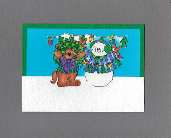 Handmade Fabric Cute Snow Cats with String of Lights Cat Christmas Blank Greeting Card