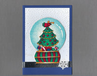 Handmade Fabric Snow Globe Angel Holiday Christmas Blank Greeting Card