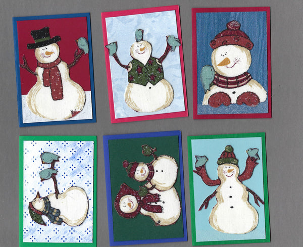 Handmade Fabric Snowmen with Blue Birds Christmas Blank Gift Enclosure Set
