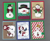 Handmade Fabric Country Snowmen Christmas Blank Gift Enclosure Set