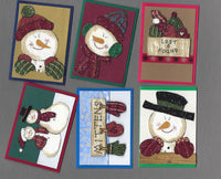Handmade Fabric Snowman in Hats & Mittens Christmas Blank Gift Enclosure Set