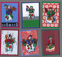 Handmade Fabric Patchwork Snowmen Fishing Christmas Blank Gift Enclosure Set
