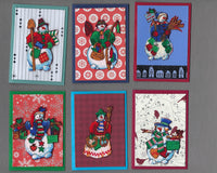 Handmade Fabric Patchwork Snow People Christmas Blank Gift Enclosure Set