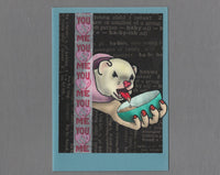Handmade Fabric Soupies Love Ferret Blank Greeting Card